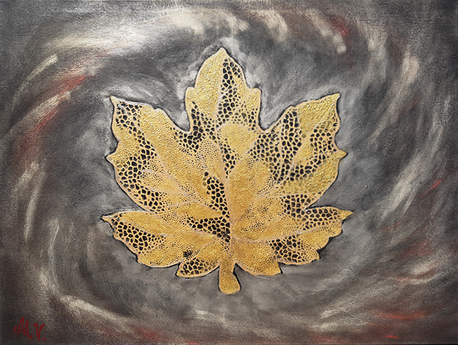Golden Leaf. Acrylic on canvas. 85×65 cm.